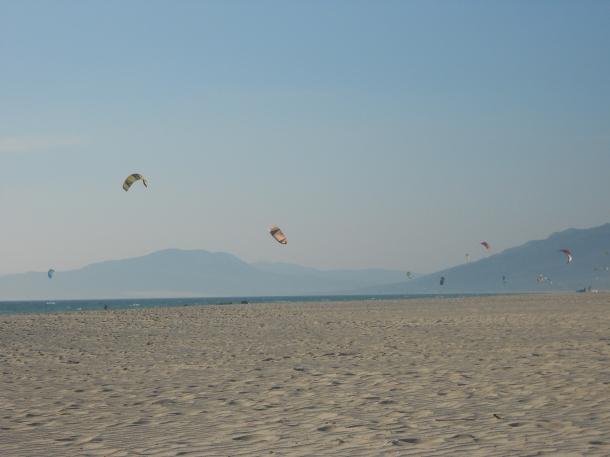 Tarifa beach kitesurfing