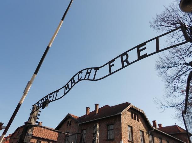 Auschwitz concentration camp, Arbeit Macht Frei sign