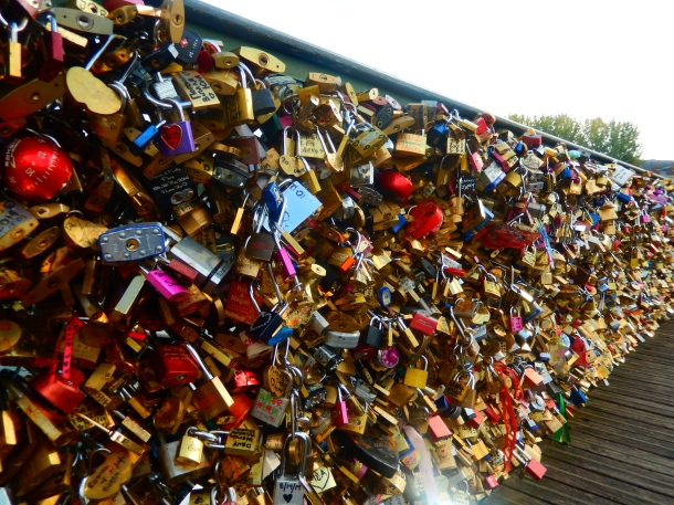 Love lock bridge, Pont Des Art Bridge, Paris, France