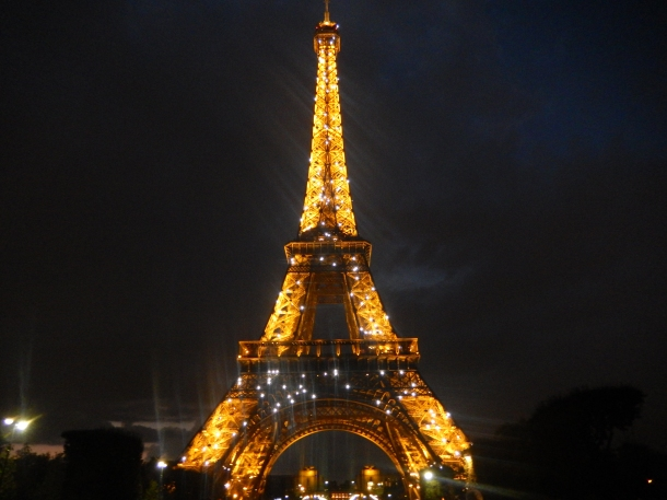 Eiffel Tower, Eiffel Tower at night, Paris, France