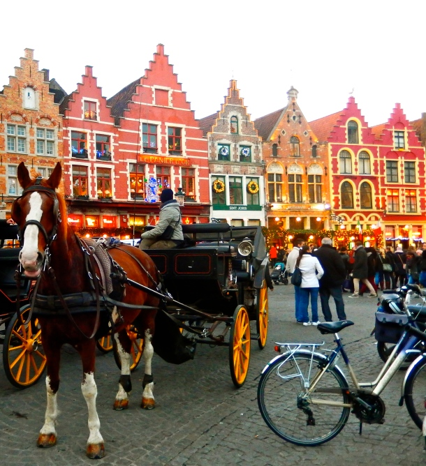Bruges, Belgium, Horse drawn carriage, Bruges Christmas Market